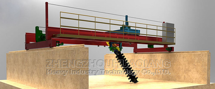 Organic fertilizer equipment double screws turning machine