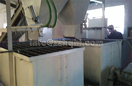Flat-die press production line installation site overview       Batching system of flat-die press production line